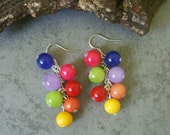 Colorful Jade Earrings, Rainbow, Natural Gemstones, Unique and Handmade, Gifts for Her