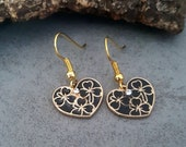 Black hearts earrings, handmade jewellery, for a gift, black heart, floral