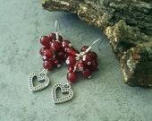 Beautiful Red Jade Earrings, Gemstone Earrings, Earring Gift Idea For Women,