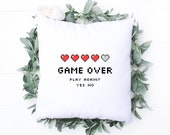 Pillow for Gamer, Retro Classic Video Game, Gift for Dad, Son, Husband, Computer & Console, Game Over, Personalised Cushion, Home Decor