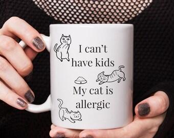 Niestandardowy kubek spersonalizowane My Cat Is Alergic, Kubek 11 uncji, Kot Lover Prezenty, Śmieszne Kubki do kawy, Kubek Bożonarodzeniowy