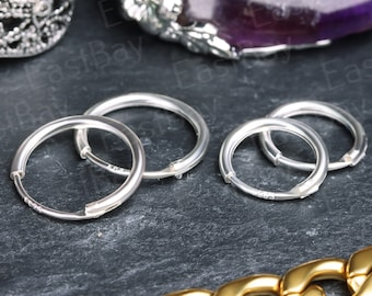 PAIR 925 Sterling Silver Sleeper Hoop Earrings Daith Tragus Conch Cartilage Small Large Nose Ring Hinged
