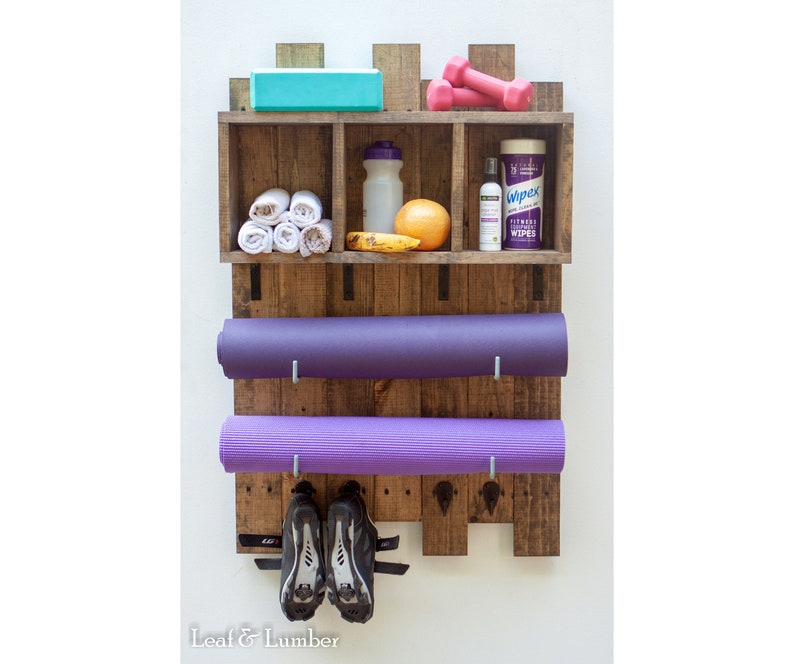 NEW LISTING Two Yoga Mat Holder With Accessory Hooks and Box image 0