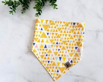 Neutral Triangle Bandana Dog Bandana Tie On Bandana Modern Print Modern Noir Geometric Print Dog Accessories