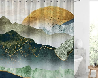 the green golden mountain by sunset shower curtain Waterproof Modern Fabric Bathroom Shower Curtains Graduation gift/Father's Day gift