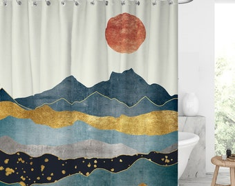 moutain view shower curtain Waterproof Modern Fabric Bathroom Shower Curtains Graduation gift/Father's Day gift