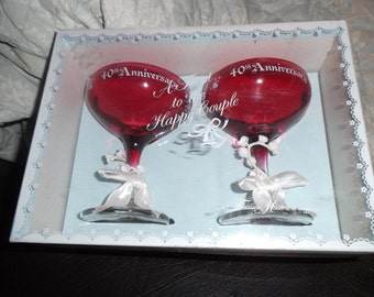 Treasured Masters Ruby Red 40th Anniversary Champagne Glasses