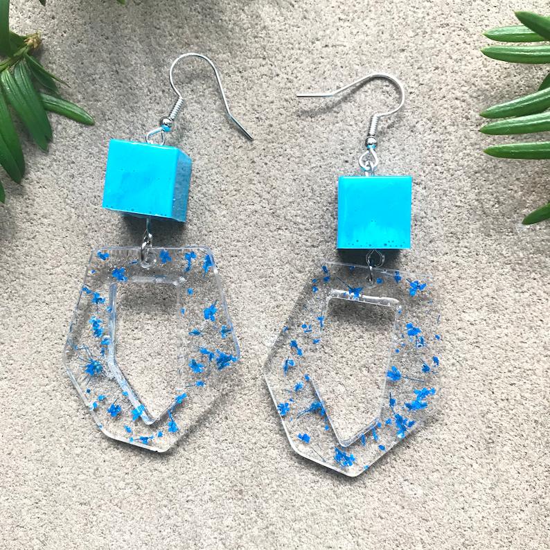 Summer Floral Earrings Resin Floral Earrings Blue Organic Flower Earrings Lightweight Earrings Resin Earrings