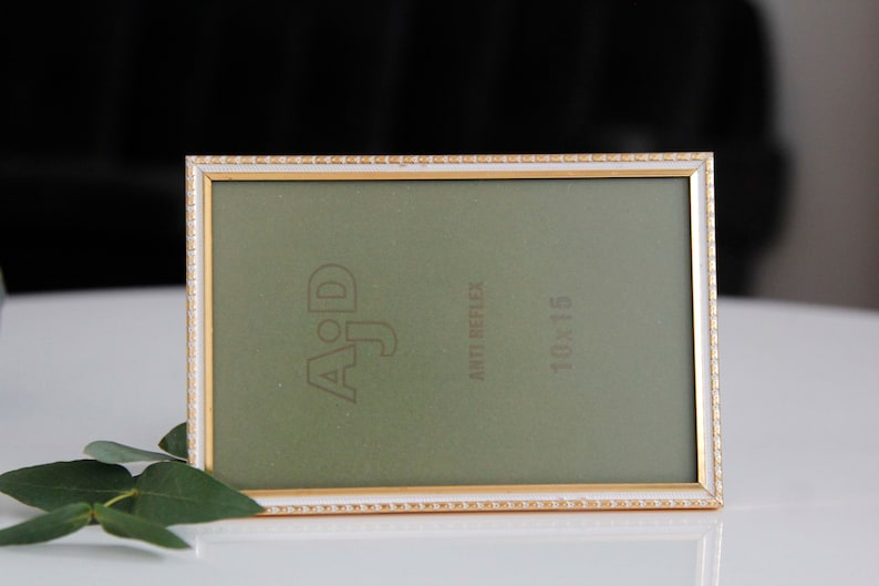 4x6 Mid-sized 50s vintage picture frame made in Denmark 10x15 cm unique desk acessories AJD gold brass photo display