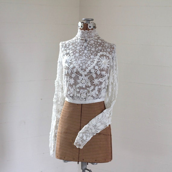 Antique Irish Crochet Lace Top, Edwardian Top, Han