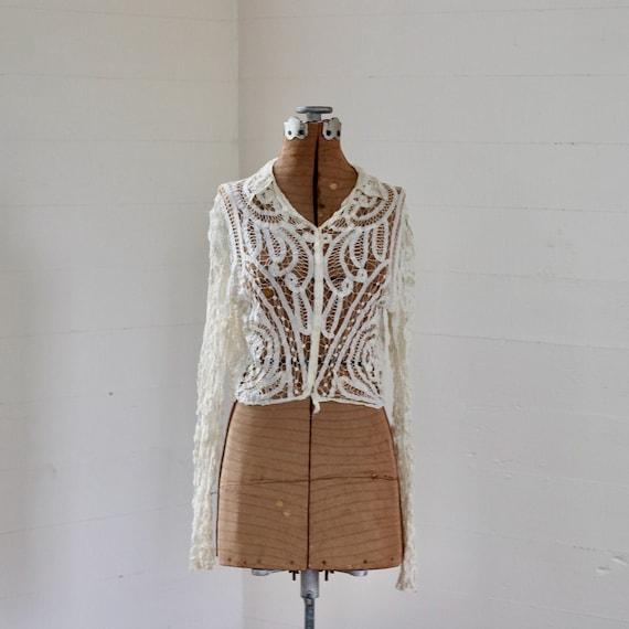 Antique Edwardian Jacket, Antique Tape Lace Jacket
