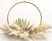 Pampas grass and palm dried flower wreath hoop