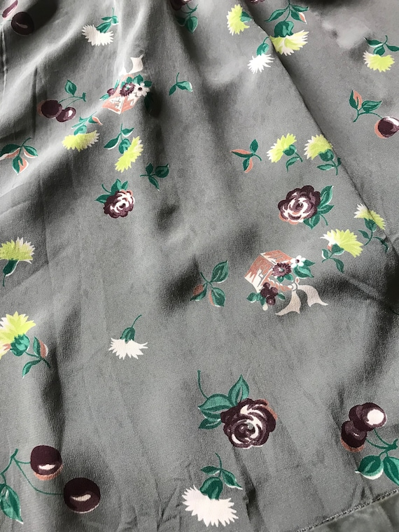 1940s Novelty Print Floral + Cherry Cold Rayon Dr… - image 10