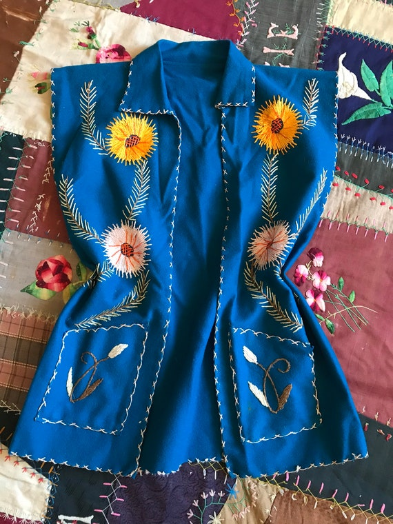 1940s Felt Embroidered Vest