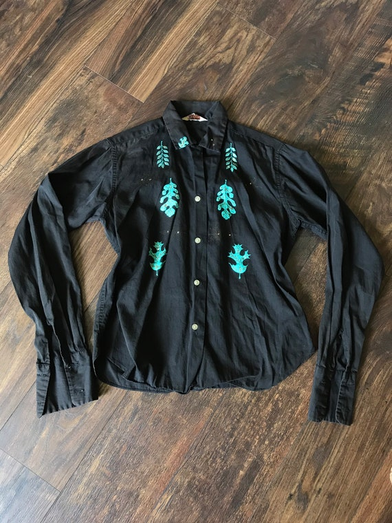 1970s/50s Style Western + Painted Leaves Blouse
