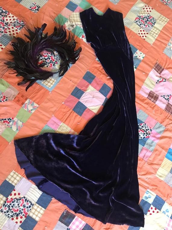 1930s Lavender Silk Velvet Bias Cut Gown