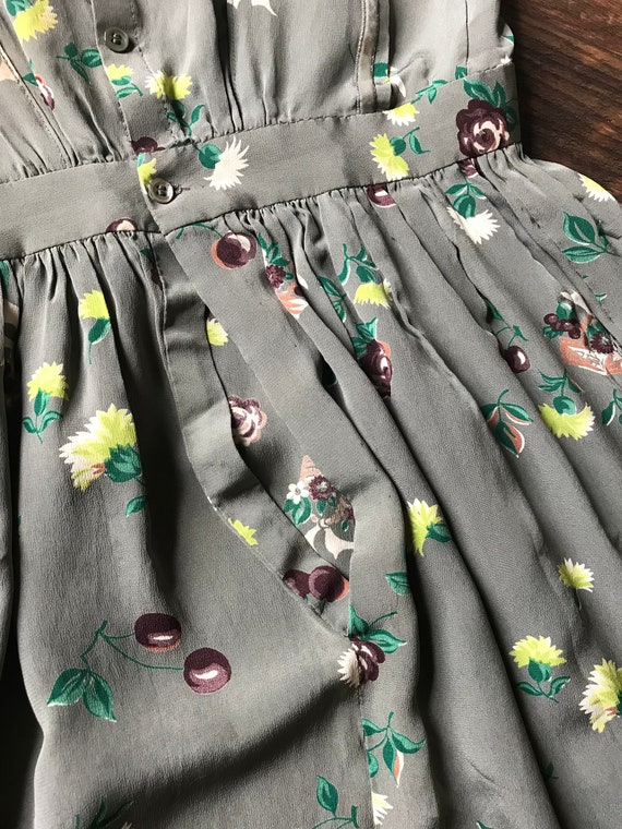 1940s Novelty Print Floral + Cherry Cold Rayon Dr… - image 8