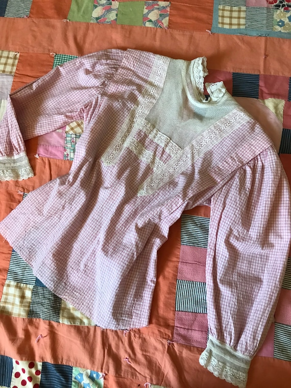 Antique Pink Gingham + Lace Blouse