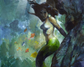 MERMAID SEA 12x15 Art Print