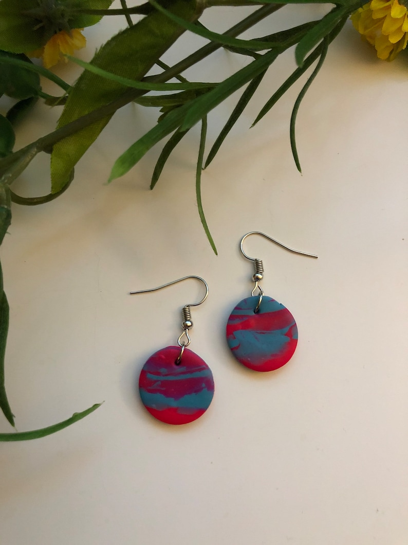 Cotton Candy Polymer Clay Earrings