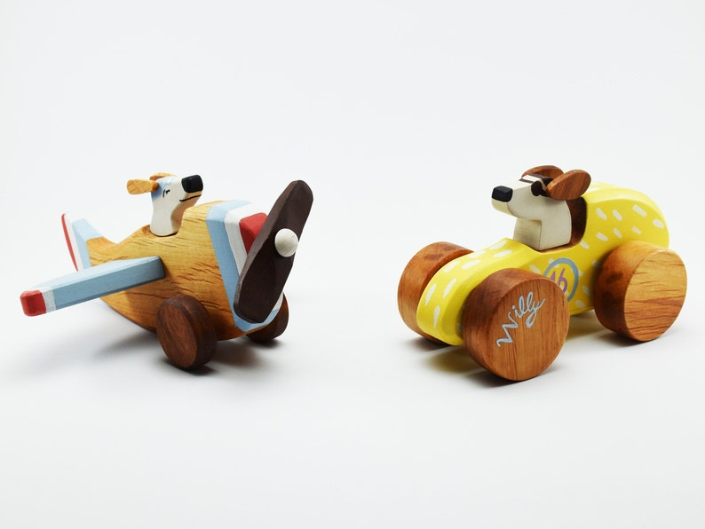 Wooden Vehicles Toys for 3 Year Old,Wooden Racing Car Wooden Plane Wooden Toys for Toddlers