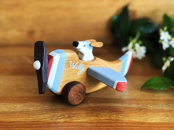 Push Pull Toy - Chunky Toddler Wooden Plane Toy Eco Friendly All Natural Hardwood Kids Airplane Waldorf Toy