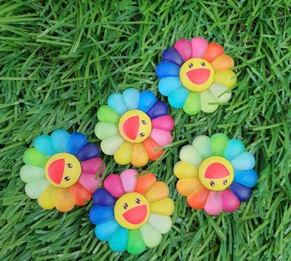 Rainbow Smile flower 5pcs / charms for