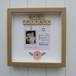Colleagues Friends Scrabble Box Frame With instax polariod print