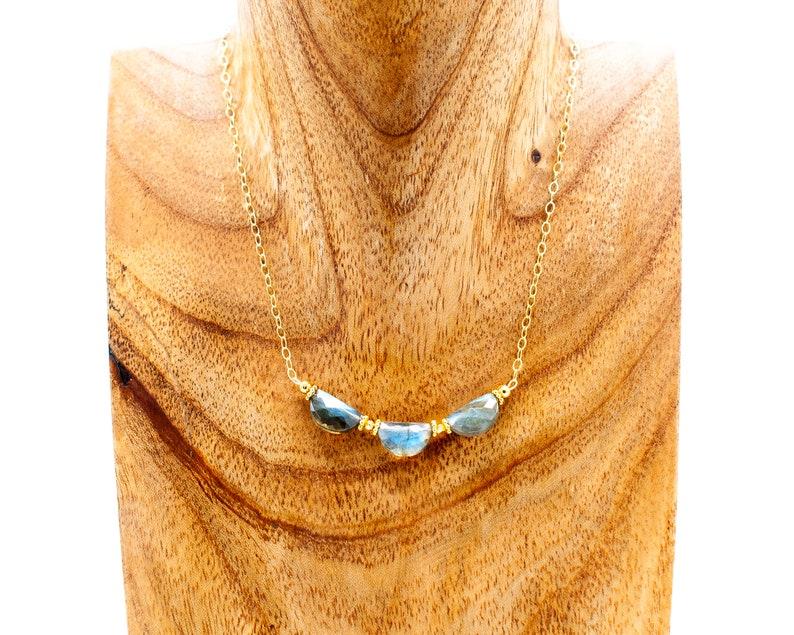 Blue Labradorite Necklace Labradorite Choker Triple Moon Necklace Delicate Gold Choker Crescent Moon Necklace Labradorite Bead Necklace