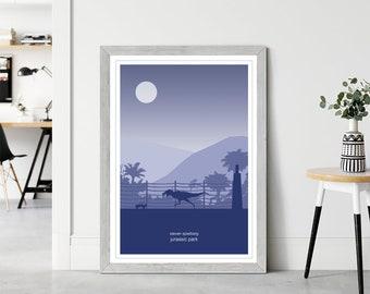 Jurassic Park Poster, Steven Spielberg Print Collection, Minimal Home Decor, Bedroom Wall Art