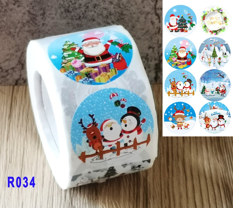 Amazing Choice for Kid\u2019s Gift 8 Designs Christmas Stickers Roll of 500 1.5 Inch Great for Holiday Greeting,Gifting Gift Decorations