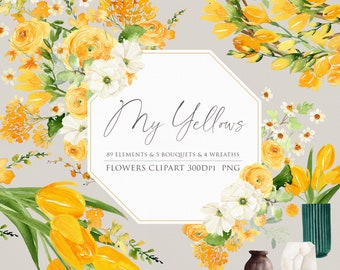 Flower clipart, Watercolor flower, Yellow bouquets, Yellow flower, Wedding invitation, Floral arrangements, Tulip clipart, Freesia clipart
