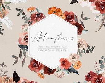Autumn watercolor, Watercolor Clipart, Floral arrangements, Rose Clipart, Hand Painted flower, Wedding Clipart, Fall Clipart, Autumn flowers