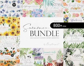 Summer Flower Bundle, Watercolor flower Bundle, Flower PNG, Watercolor flower clipart, Summer wedding, Wedding clipart