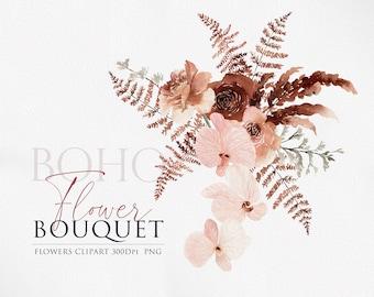 Boho Florals, Flower clipart, Bohemian floral, Dried flower clipart, Pampas clipart, Orchid clipart, Boho clipart, Boho PNG