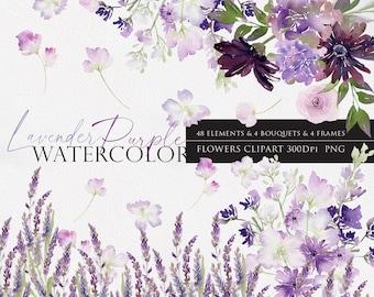 Purple flower clipart, Floral arrangements, Wedding flower, Floral Watercolor, Watercolor flower PNG, lilac clipart, lavender clipart