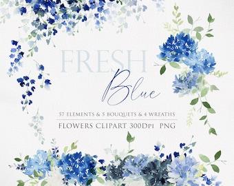 Watercolor clipart, Blue flowers, Floral arrangements, Wedding Clipart, Floral Watercolor, Watercolor flower PNG, Hydrangea clipart