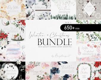 Winter Flower Bundle, Watercolor flower Bundle, Flower PNG, Watercolor flower clipart, Christmas Bundle, Wedding clipart