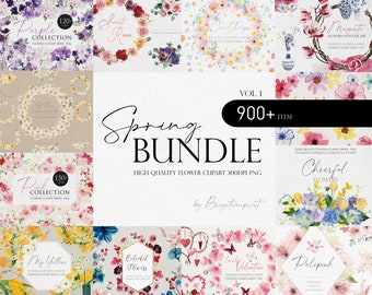 Spring Flower Bundle, Watercolor flower Bundle, Flower PNG, Watercolor flower clipart, Flower Bundle, Wedding clipart, Pink flower png