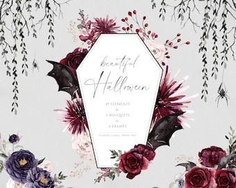 Beautiful Halloween, Watercolor flowers, Floral arrangements, Halloween Clipart, Watercolor frame, Autumn flowers, grotesque clipart