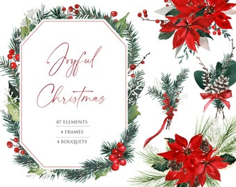 Christmas Wreath Clipart, Watercolor flower PNG, Watercolor Winter Clipart, Holiday Card Clipart, Watercolor Poinsettia, Christmas clipart