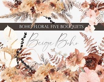 Boho Florals, Flower clipart, Bohemian floral, Dried flower clipart, Pampas clipart, hydrangea clipart, Boho clipart, Boho PNG