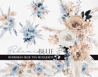 Watercolor flower, Boho flower, Boho Blue clipart, Dusty blue flower, Boho flower clipart, Dried flower, Pampass clipart, Boho Bouquet