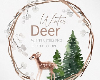 Watercolor Winter clipart, Deer clipart, baby deer, Christmas clipart, Wreath clipart, Watercolor Wreath, Winter object, Christmas deco