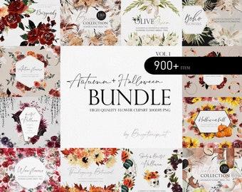 Autumn Flower Bundle, Watercolor flower Bundle, Flower PNG, Watercolor flower clipart, Autumn wedding, Wedding clipart