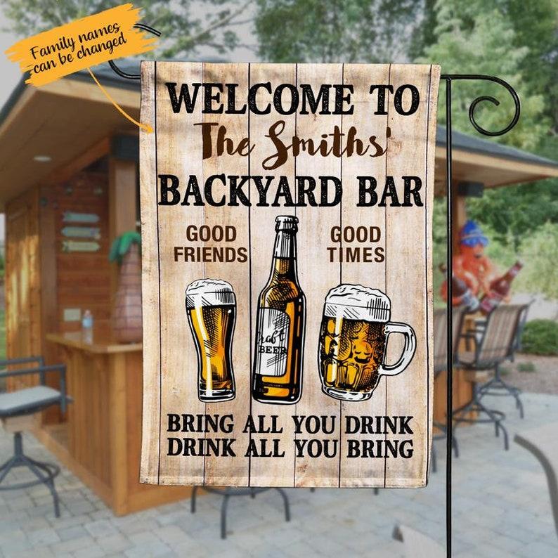 Gearhuman – Backyard Bar Good Friends Good Times Personalized Garden Flag