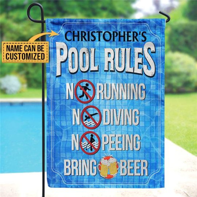 Gearhuman – Personalized Swimming Pool Rules No Peeing Bring Beer House