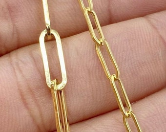 Solid 14K Gold Paperclip Chain Necklace 3.2mm 4.5mm, Trending Gold Necklace, Ladies Gold Necklace, Paperclip Bracelet