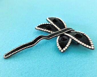 Rara Avis by Iris Apfel Signed Black Leather & Crystal Dragonfly Pin / Brooch