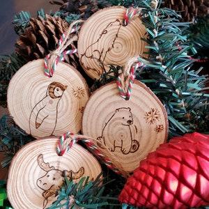 Arctic Series Wood Slice Christmas Ornament